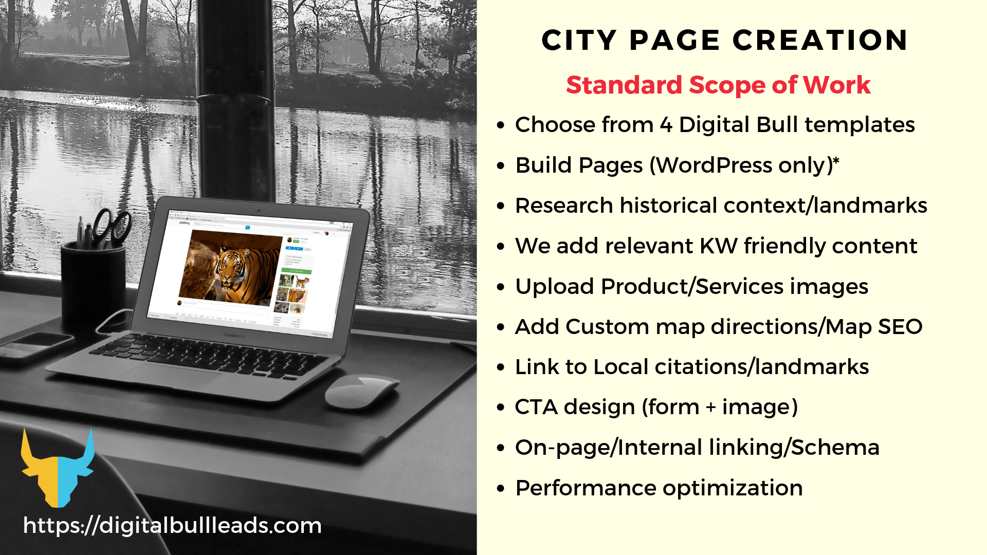 DigitalBullLeads Custom Local City Landing Page Creation Scope of Work
