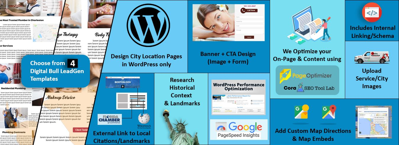 DigitalBullLeads Custom Local City Landing Page Creation GMB