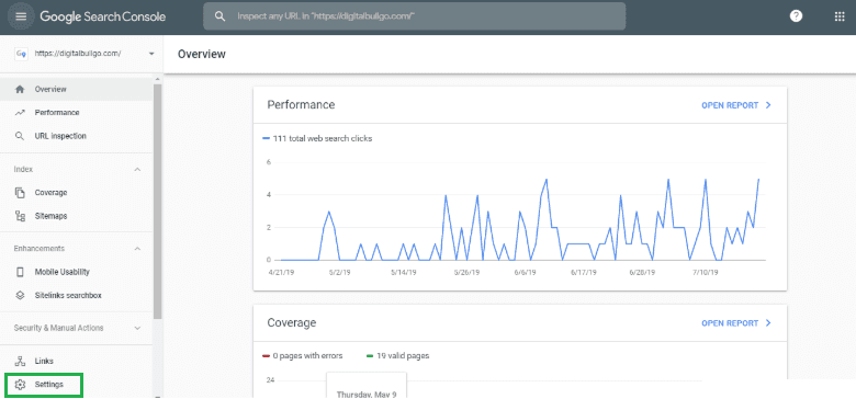 Google Search Console Integration Step 1